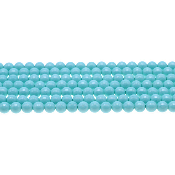 Shell Pearl Turquoise Blue Round 6mm - Loose Beads