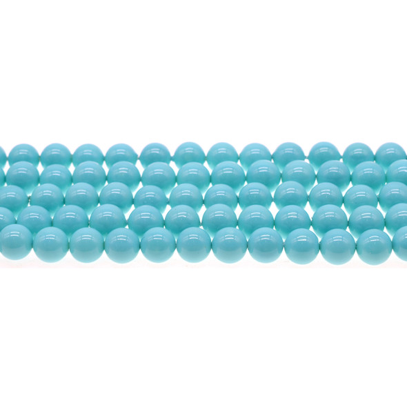 Shell Pearl Turquoise Blue Round 8mm - Loose Beads