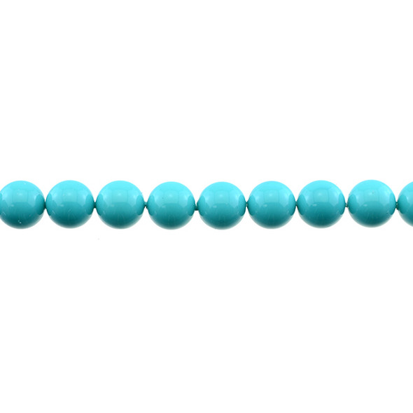 Shell Pearl Turquoise Blue Round 10mm - Loose Beads
