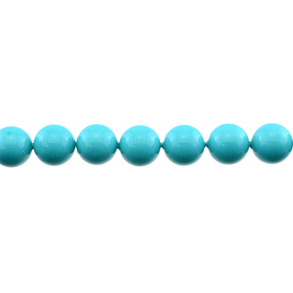 Shell Pearl Turquoise Blue Round 12mm - Loose Beads