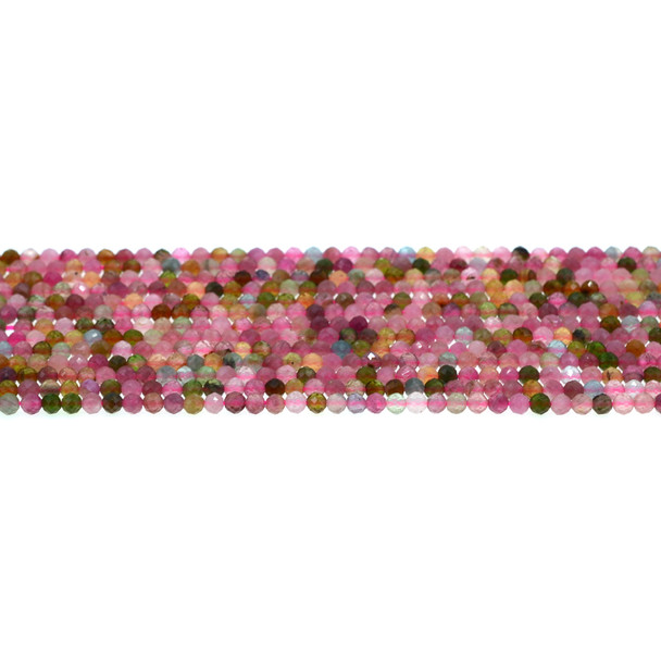 Multicolor Tourmaline Round Faceted Diamond Cut 3mm - Loose Beads