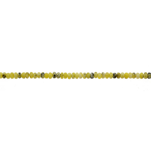 Yellow Turquoise (Serpentine Quartz) Roundel Faceted 4mm x 4mm x 2mm - Loose Beads