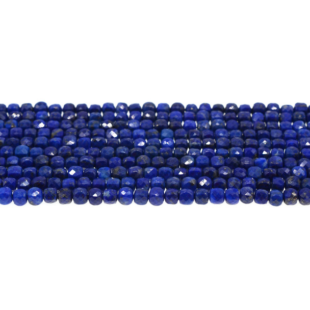 Natural Lapis Cube Faceted Diamond Cut 4mm - Loose Beads