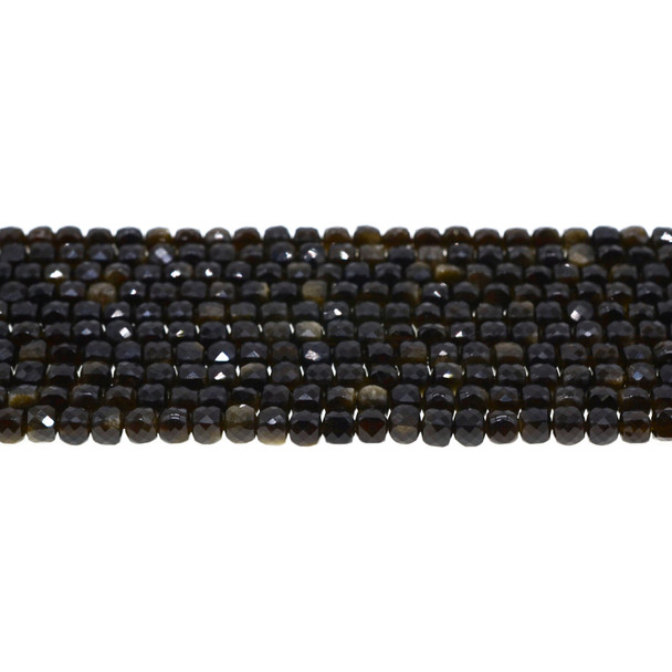 Golden Obsidian Cube Faceted Diamond Cut 4mm - Loose Beads