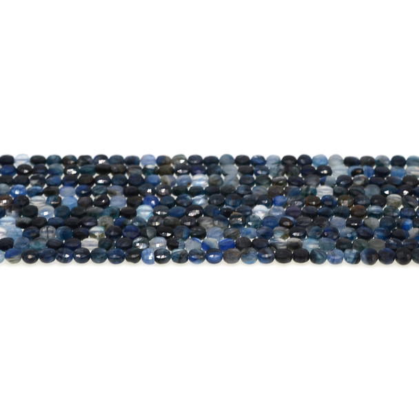 Kyanite AB Coin Puff Faceted Diamond Cut 4mm x 4mm x 2mm - Loose Beads