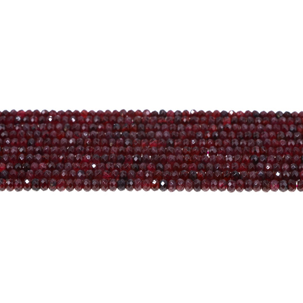 Garnet Roundel Faceted 4mm x 4mm x 2mm - Loose Beads