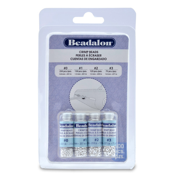 Crimp Bead Variety Pack, Sizes 0, 1, 2, 3, Silver Plated, 600 pc.