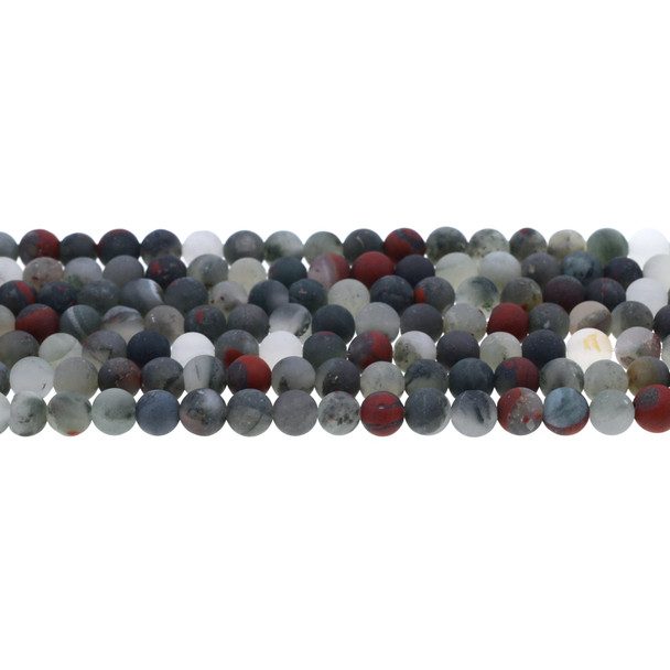 African Bloodstone Round Frosted 6mm - Loose Beads