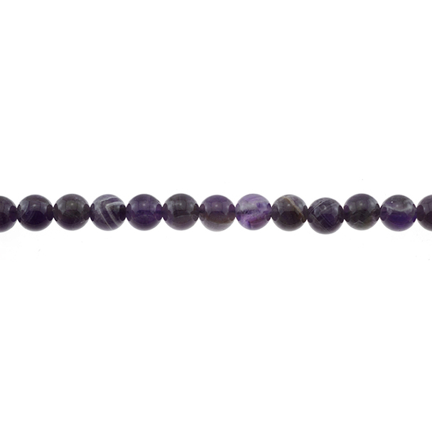 Amethyst Banded Round 8mm - Loose Beads