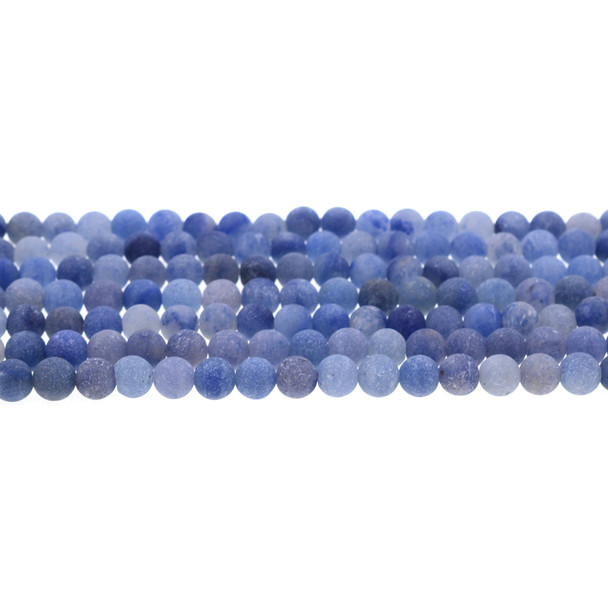 Blue Aventurine Round Frosted 6mm - Loose Beads