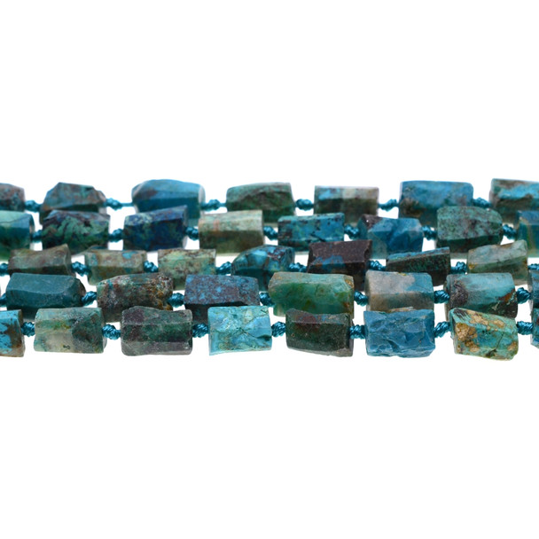 Chrysocolla Hexagone Prism Frosted Irregular 8mm x 8mm x 10mm - Loose Beads