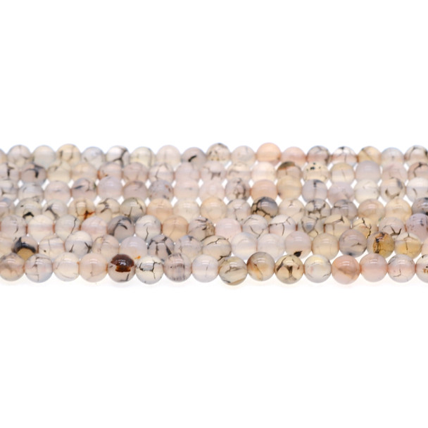 Dragon Vein Agate Round 6mm - Loose Beads