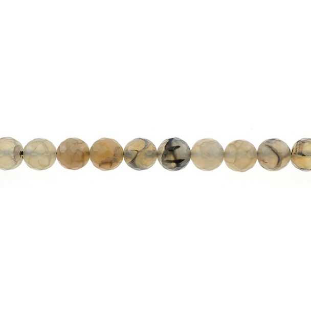 Dragon Vein Agate Round Faceted 10mm - Loose Beads