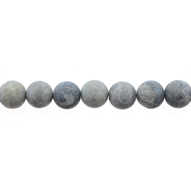 Fossil Coral Round Frosted 12mm - Loose Beads