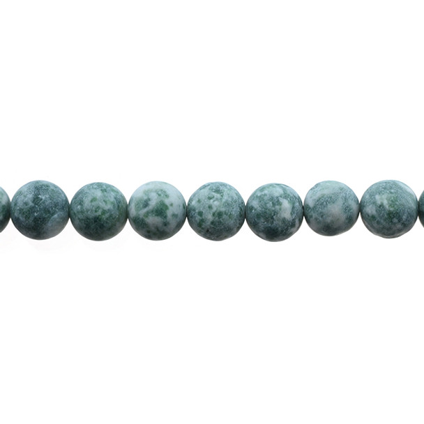 Green Spot Jasper Round Frosted 10mm - Loose Beads