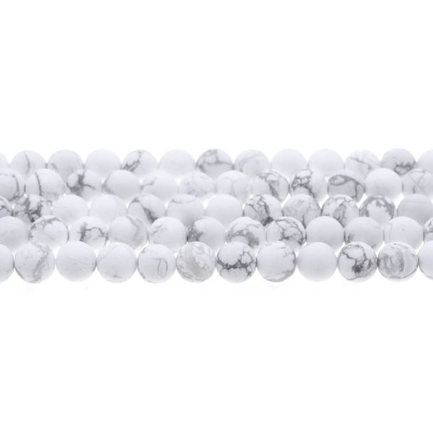Howlite Round Frosted 8mm - Loose Beads