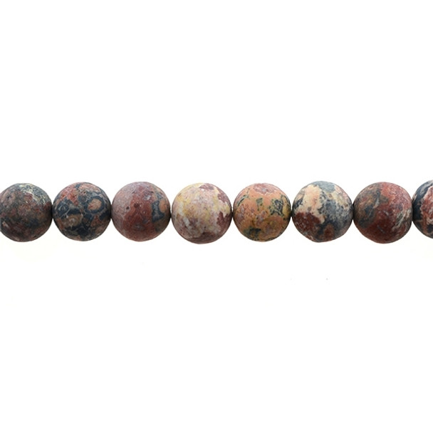 Leopard Skin Jasper Round Frosted 12mm - Loose Beads