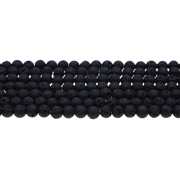 Black Lava Round 6mm - Loose Beads