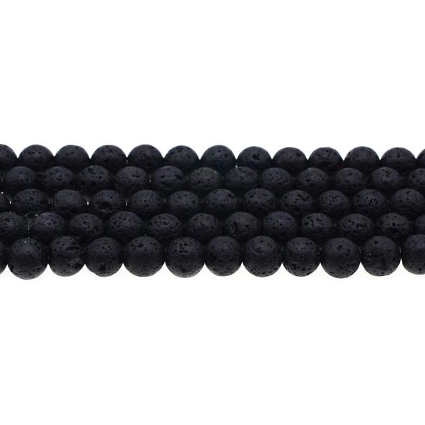 Black Lava Round 8mm - Loose Beads