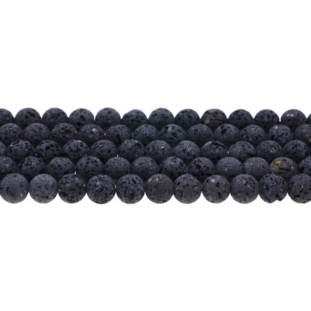 Black Lava Round 8mm Matte Frosted (Unwaxed) - Loose Beads