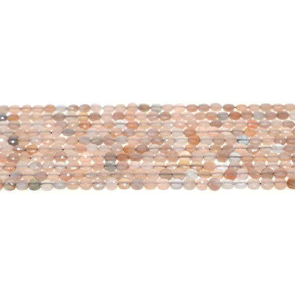 Multicolor Moonstone Coin Puff Faceted Diamond Cut 4mm x 4mm x 2mm - Loose Beads