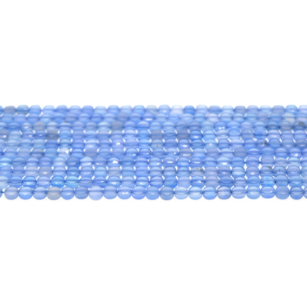 Blue Onyx Coin Puff Faceted Diamond Cut 4mm x 4mm x 2mm - Loose Beads