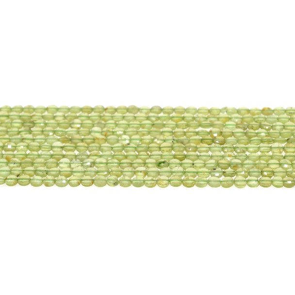 Peridot Coin Puff Faceted Diamond Cut 4mm x 4mm x 2mm - Loose Beads