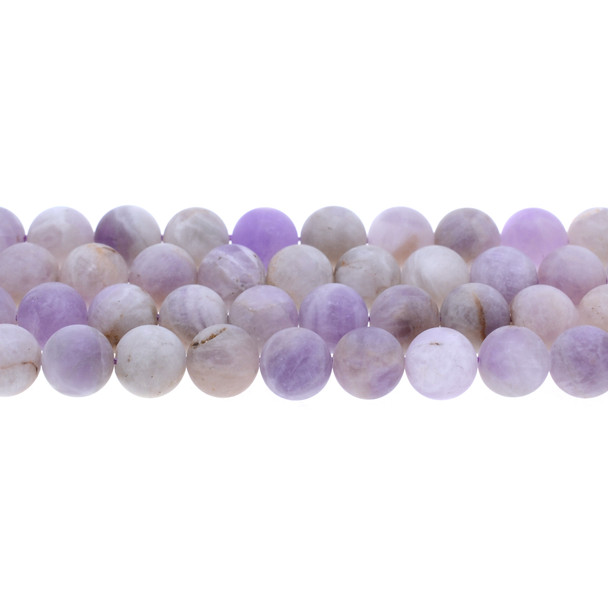 Natural Purple Lilac Jade Round Frosted 10mm - Loose Beads