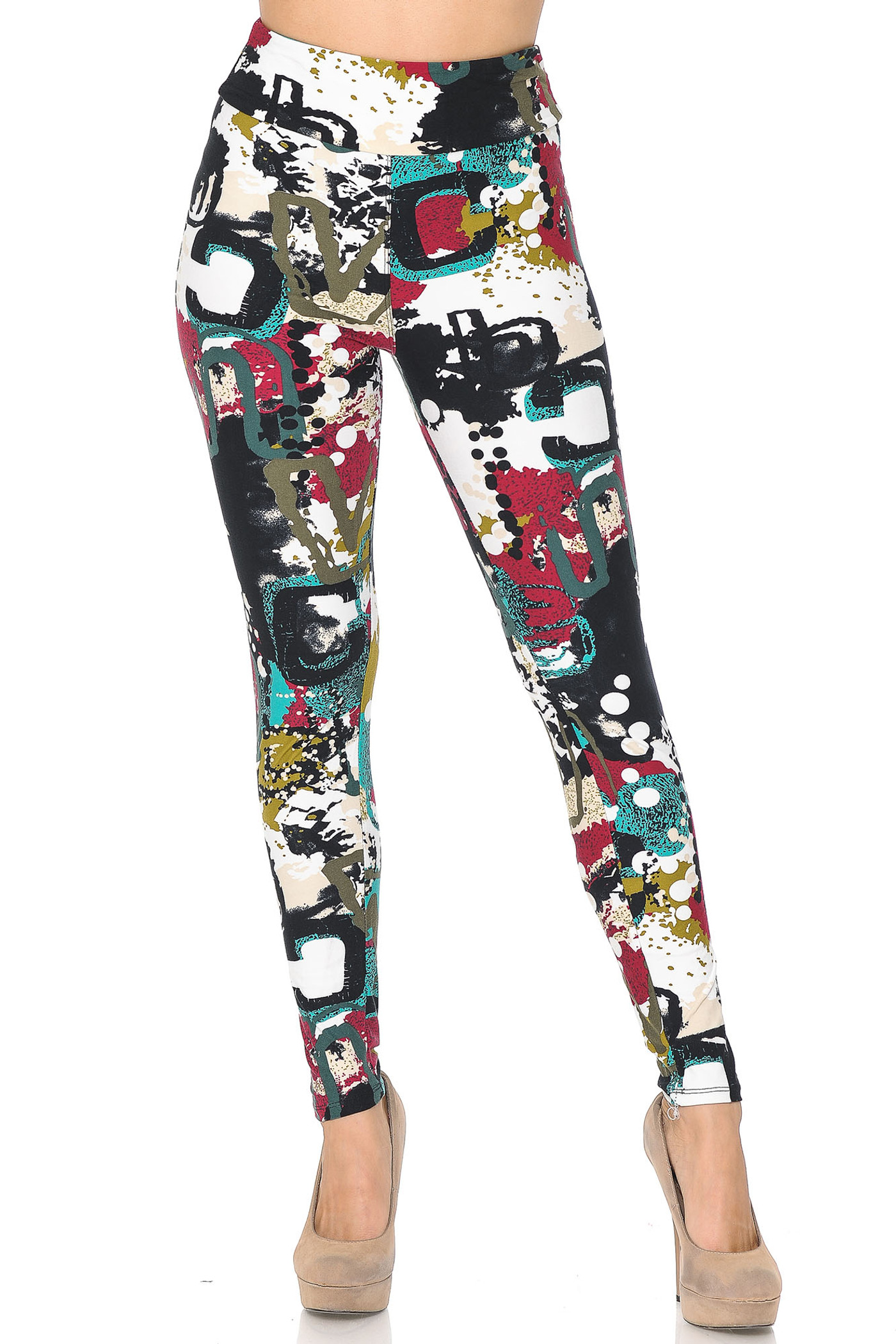 Summer Picasso High Waisted Double Brushed Leggings