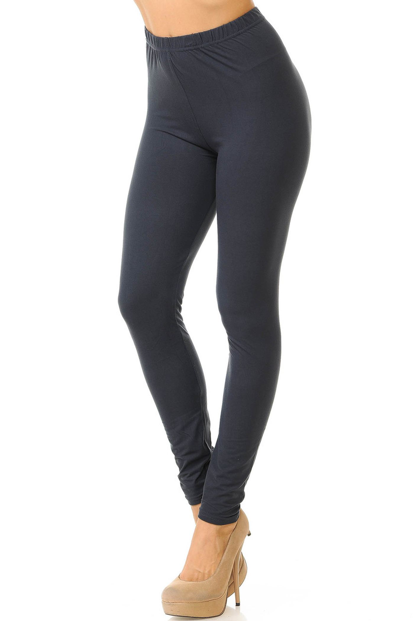 Charcoal  Basic Solid Double Brushed Leggings - New Mix