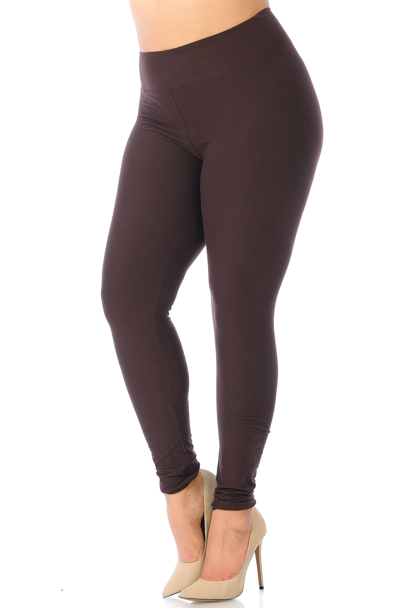 Double Brushed Basic Solid Leggings - Plus Size - EEVEE - 3 Inch
