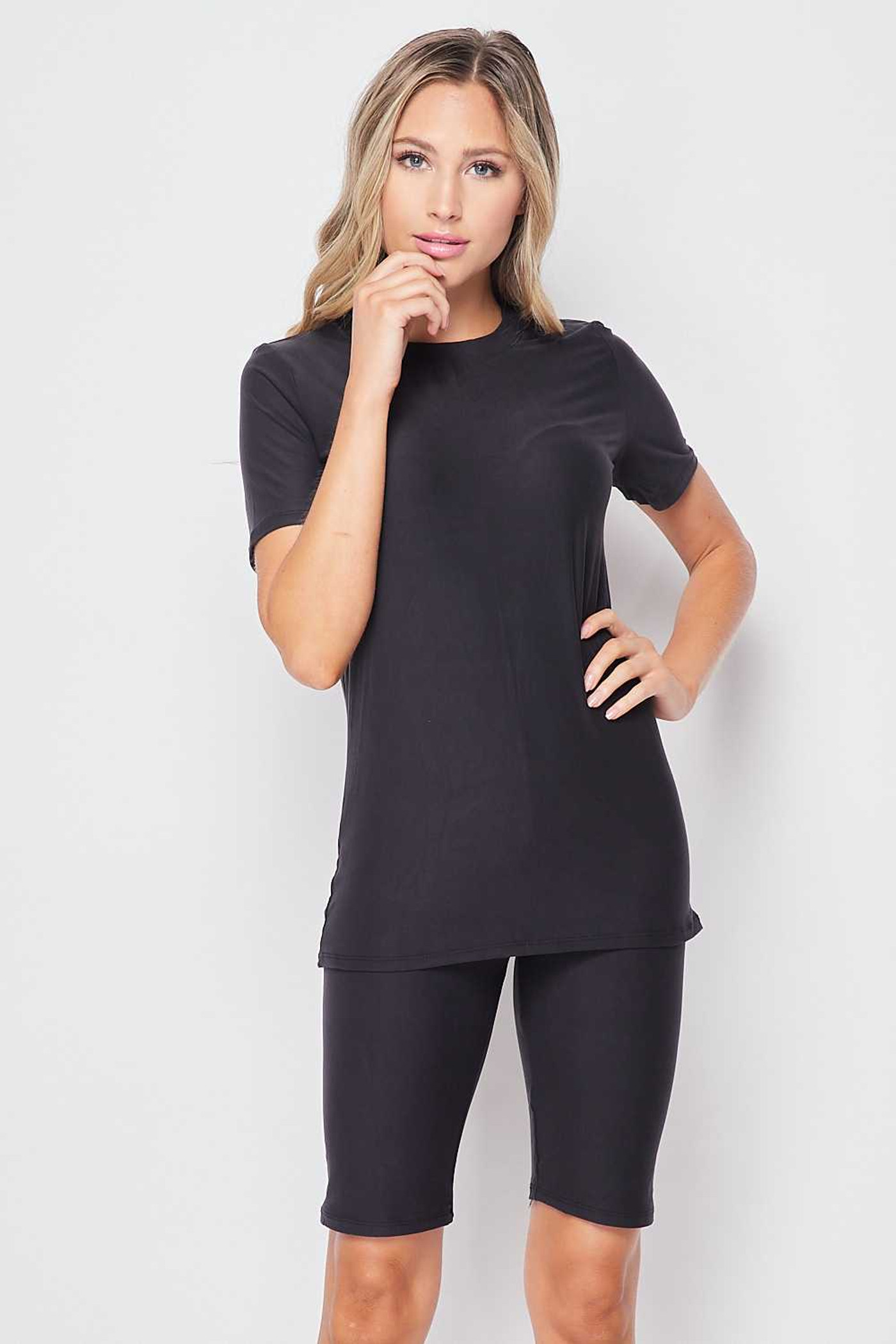 Charcoal Buttery Soft Basic Solid Biker Shorts and T-Shirt Set