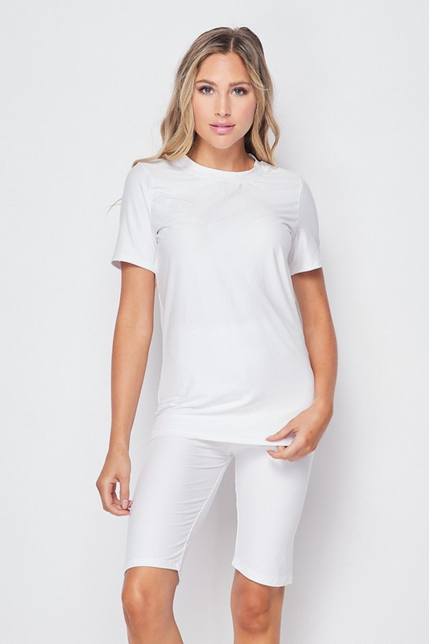White Buttery Soft Basic Solid Biker Shorts and T-Shirt Set