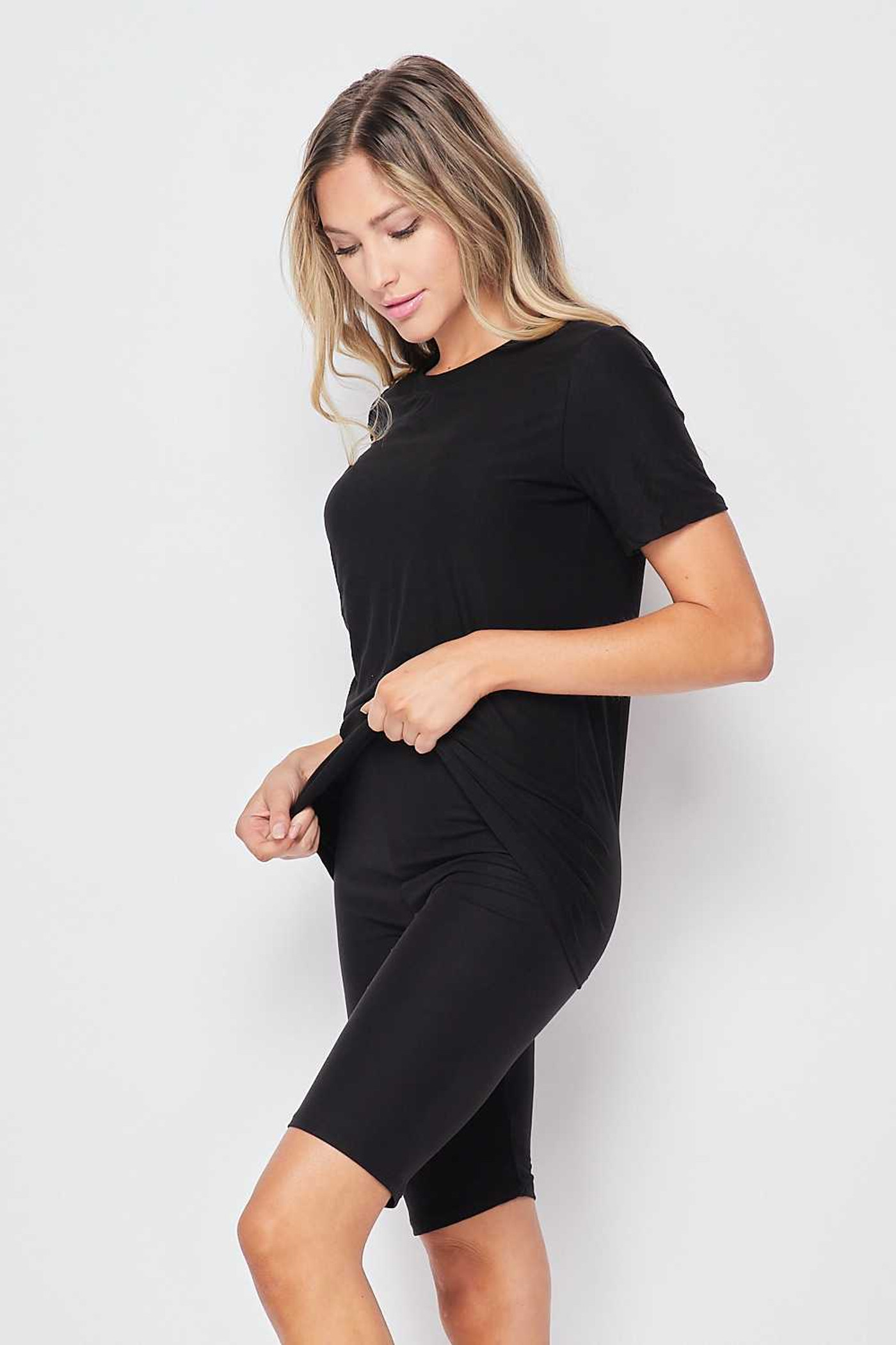 Right side of Black Buttery Soft Basic Solid Biker Shorts and T-Shirt Set