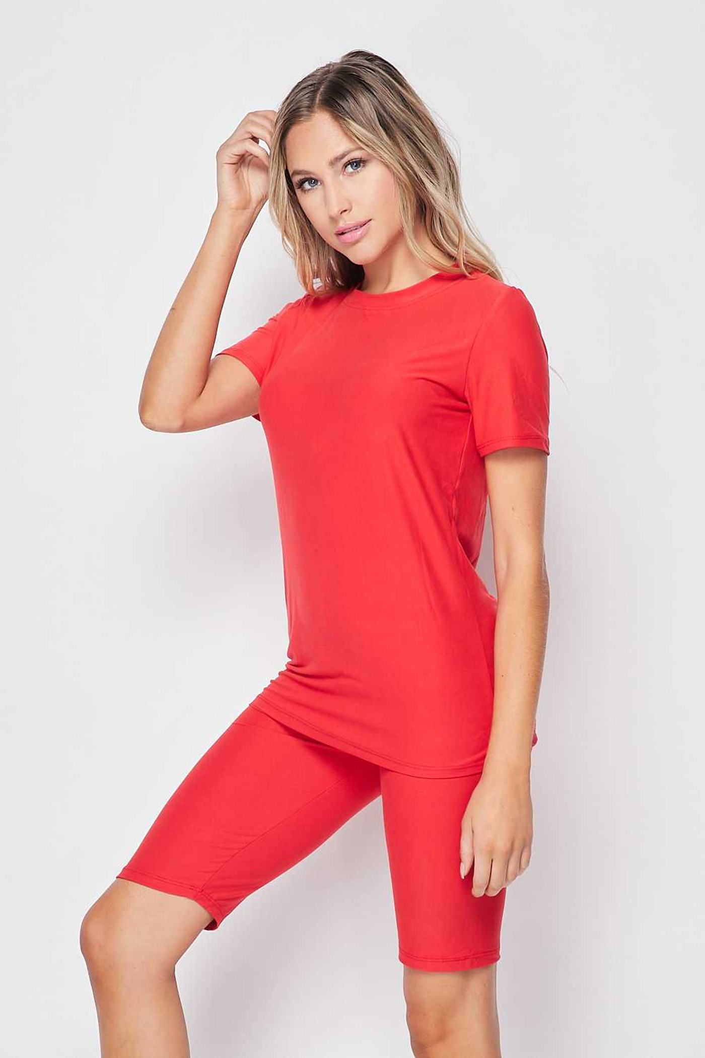 Left side of Red Double Brushed Basic Solid Biker Shorts and T-Shirt Set