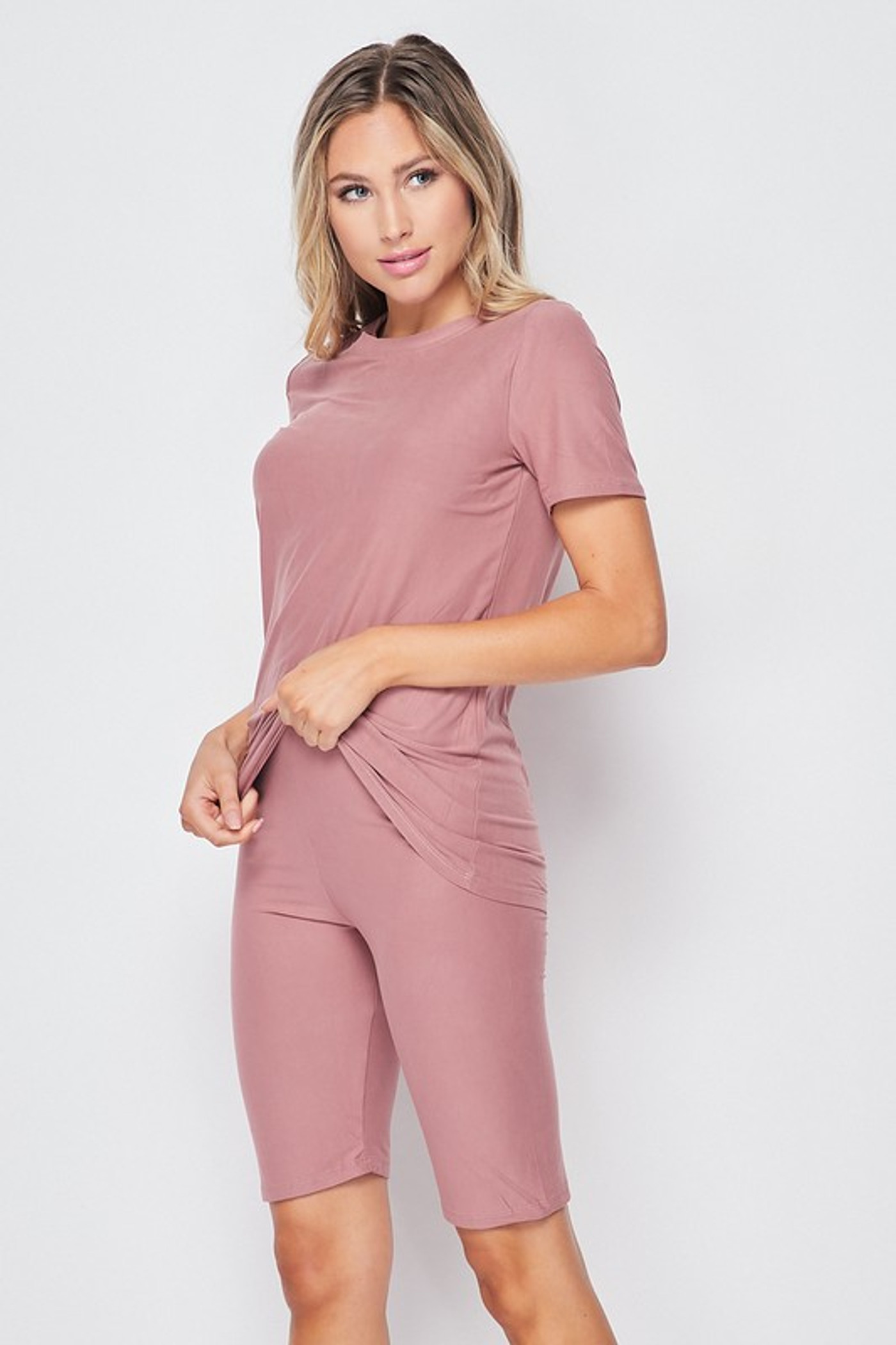 45 degree view of Mauve Buttery Soft Basic Solid Biker Shorts and T-Shirt Set