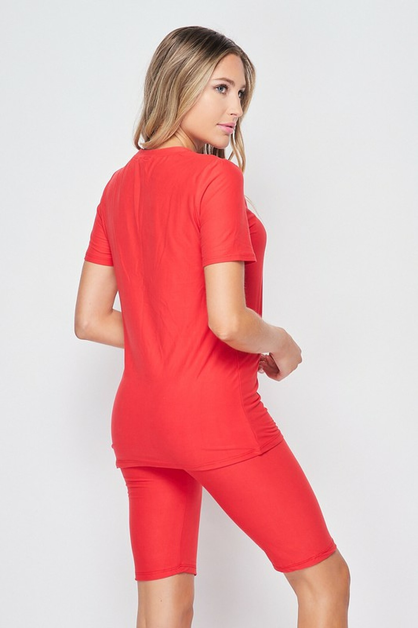 45 degree back right view of Red  Buttery Soft Basic Solid Biker Shorts and T-Shirt Set