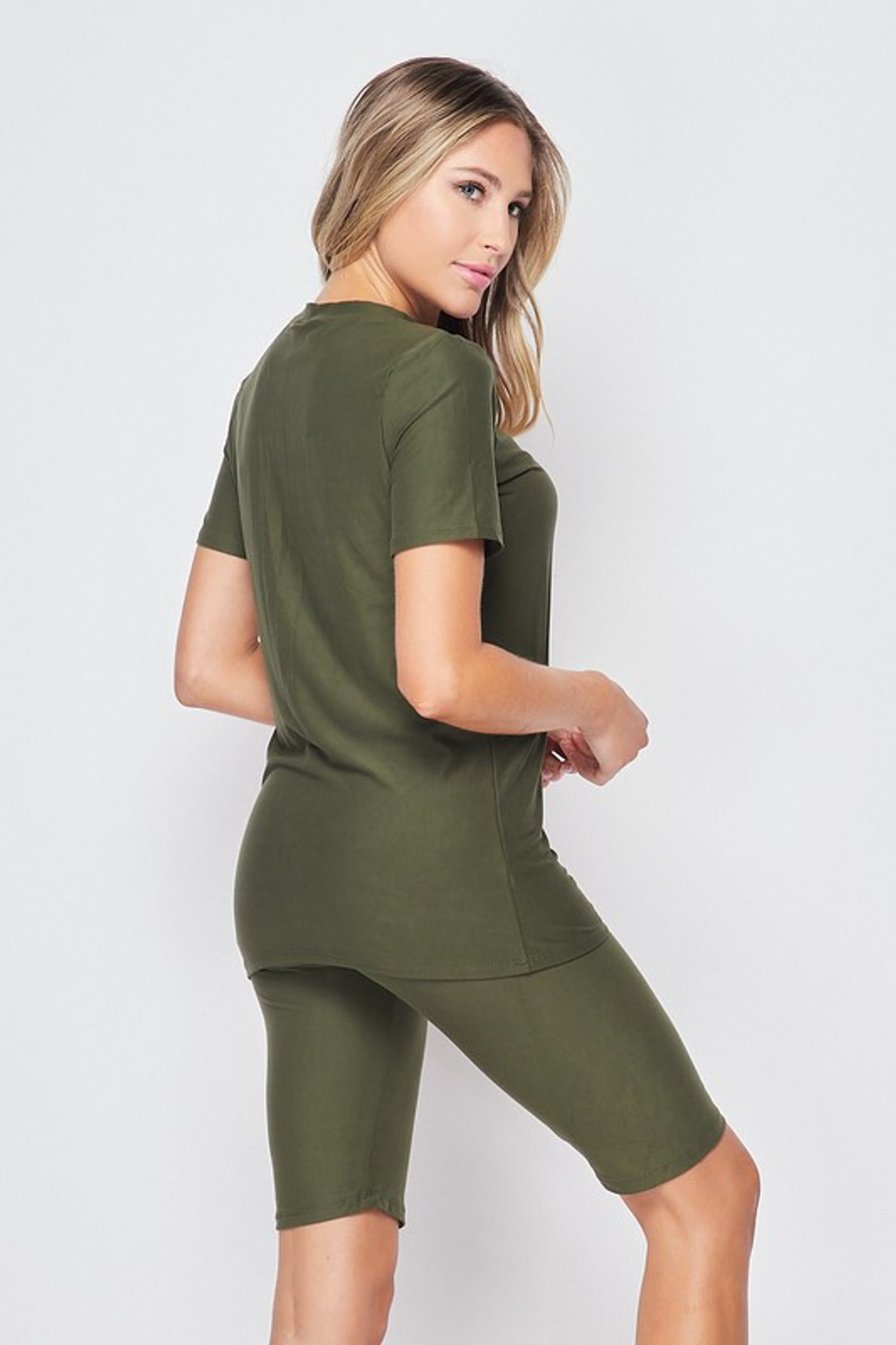 45 degree back right view of Olive Buttery Soft Basic Solid Biker Shorts and T-Shirt Set