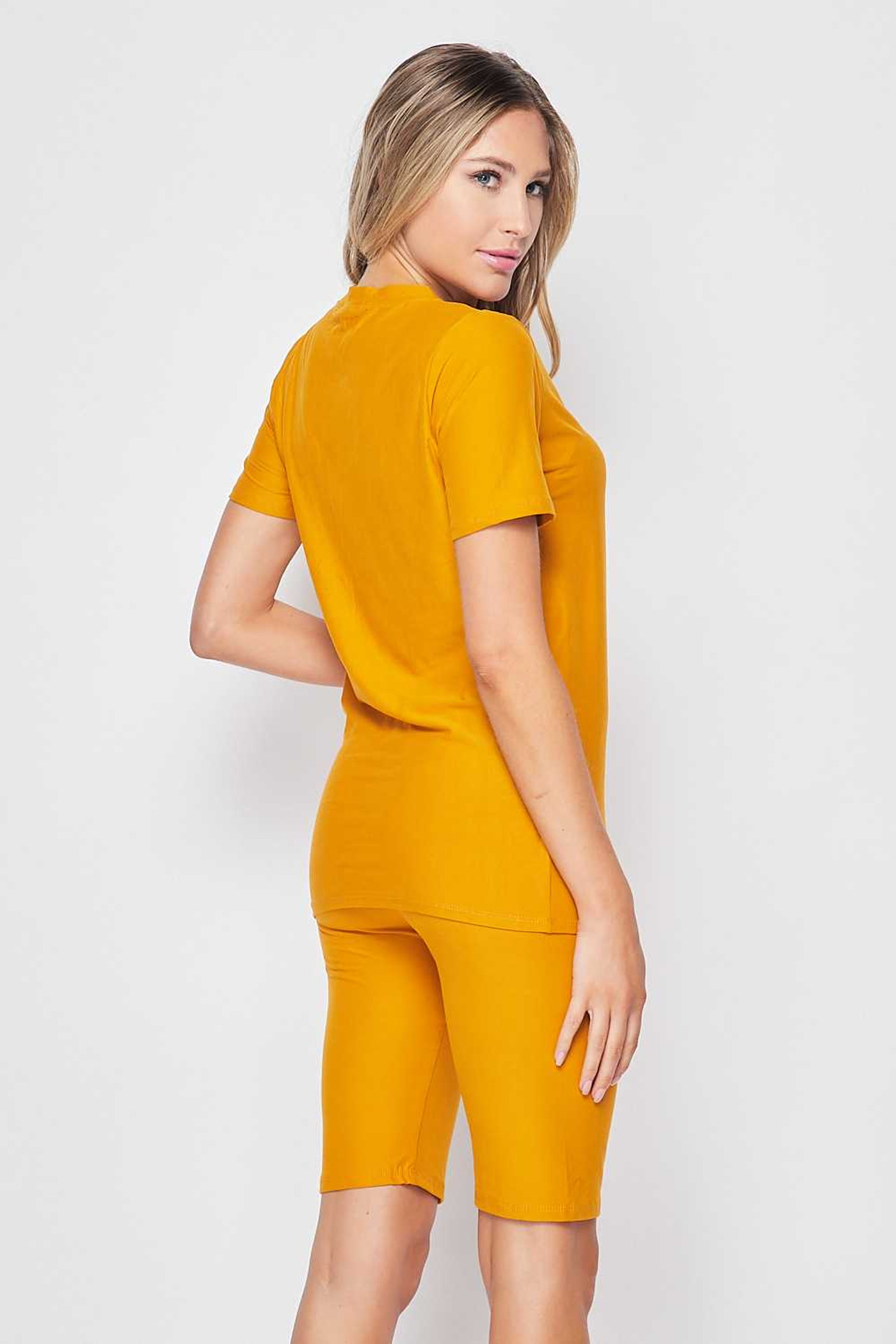 45 degree back right side of Mustard Buttery Soft Basic Solid Biker Shorts and T-Shirt Set