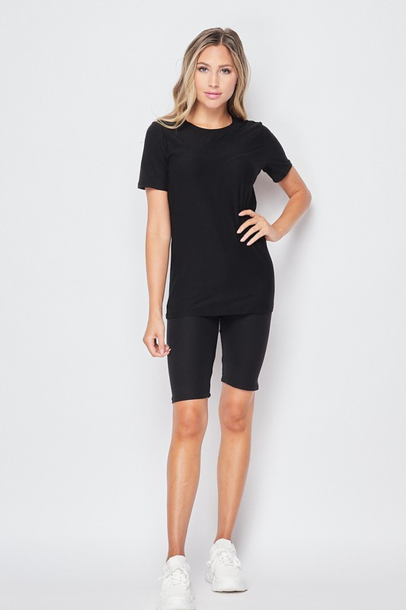 Front of Black Double Brushed Basic Solid Biker Shorts and T-Shirt Set