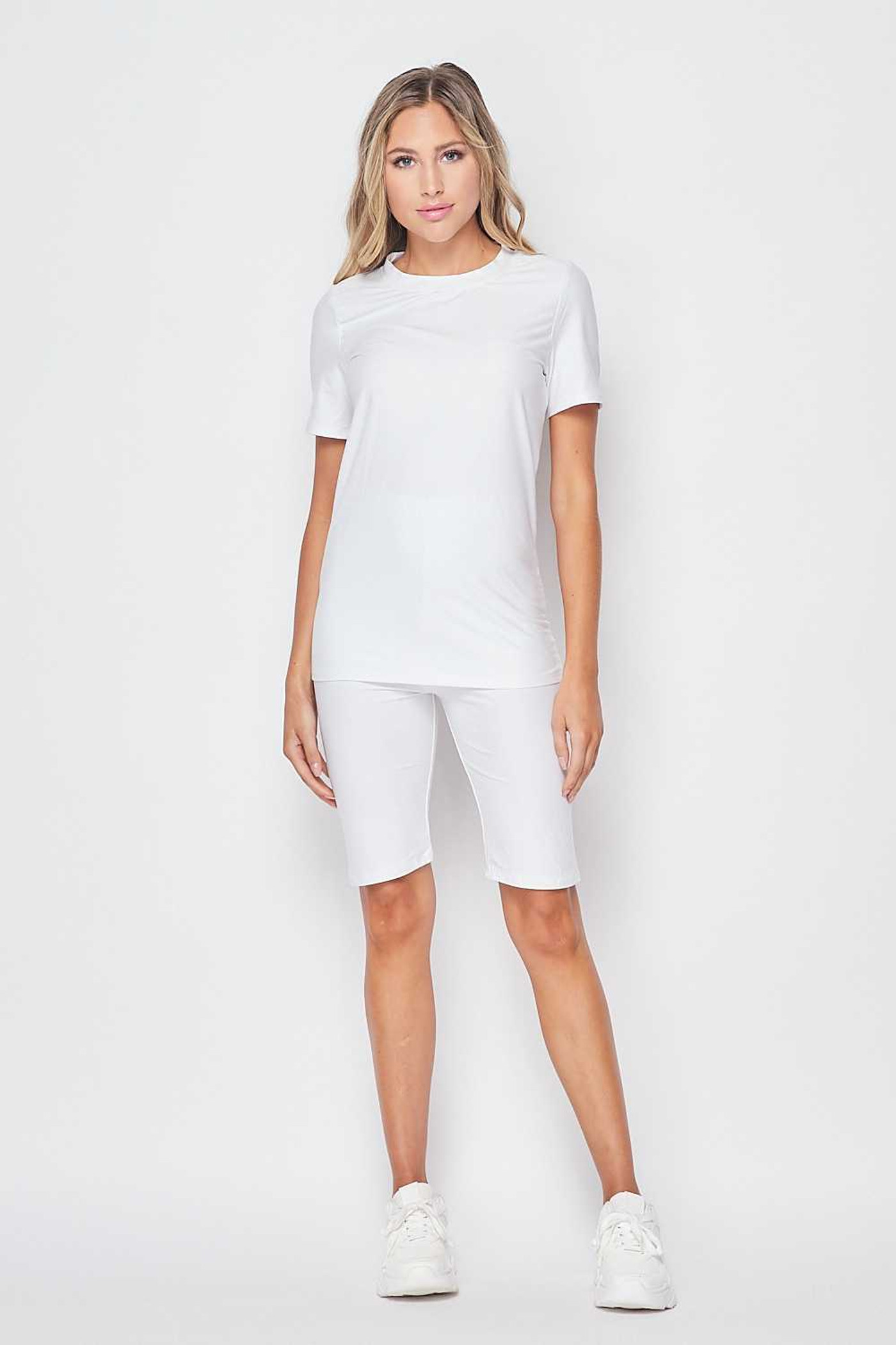 Front of White Double Brushed Basic Solid Biker Shorts and T-Shirt Set
