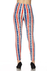 Vertical Stars and Stripes Double Brushed Leggings