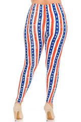 Double Brushed Plus Size Vertical Stars and Stripes Leggings
