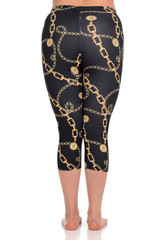 Brushed Graphic Print Gold Chain Capris - Plus Size
