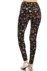 High Waisted Muddy Paw Print Double Brushed Leggings
