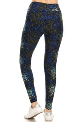 Buttery Soft Blue Tangled Swirl High Waisted Leggings - Plus Size