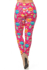 Buttery Soft Pink Christmas Leggings - Plus Size