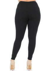 Black Double Brushed Basic Solid High Waisted Leggings - Plus Size - 3X-5X - 5 Inch - Rear Image