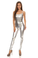 Front side image of USA Spaghetti Strap Faux Leather Jumpsuit