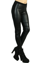Multi Panel Constructed Faux Leather Leggings